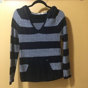 Roxy Hooded V-neck Sweater, Size Small